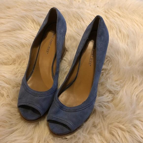 9da1c620d26c3 LOWER EAST SIDE Shoes - Blue Suede Peep Toe Wedge Sandals